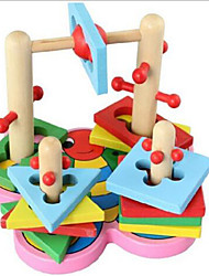 Stress Relievers / Building Blocks / Educational Toy For Gift  Building Blocks Leisure Hobby Circular / Square Wood 2 to 4 Years Rainbow