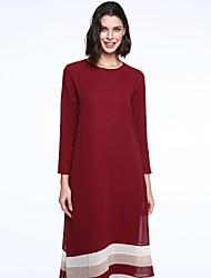 Ample Robe Femme Sortie simple Bohème,Rayé Col Arrondi Maxi Manches Longues Bleu Rose Rouge Noir Marron Vert Polyester PrintempsTaille