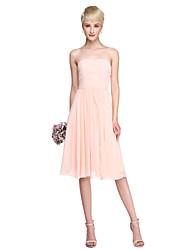 Lanting Bride® Mi-long Mousseline de soie Robe Convertible Robe de Demoiselle d'Honneur  - Trapèze Sans Bretelles avecCeinture / Ruban