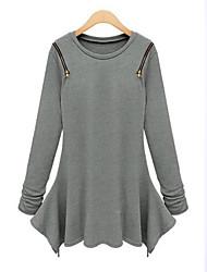 Damen Standard Pullover-Übergröße Sexy Solide Schwarz Grau Rundhalsausschnitt Langarm Baumwolle Leinen Andere Herbst Mittel