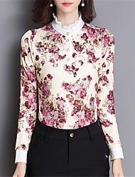 Fashion Long Sleeves Flower Printing Female Chiffon Shirt Wild Daily Leisure Home Get Together T-shirt