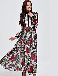 Women's Casual/Daily Simple Loose Dress,Floral Stand Maxi Long Sleeve Black Polyester Fall Mid Rise Inelastic Medium