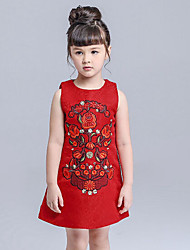 Girl's Holiday Floral Dress Spring Fall Sleeveless