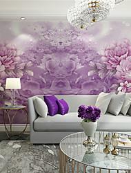 Floral / Art Decó / 3D Fondo de pantalla Para el hogar Contemporáneo Revestimiento de pared , Lienzo Material adhesiva requerida Mural ,