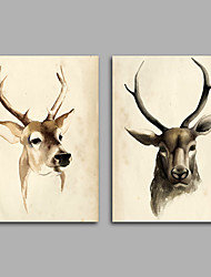 Canvas Set / Unframed Canvas Print Abstract / Animal Elk ClassicTwo Panels Canvas Horizontal Print Wall Decor For Home Decoration