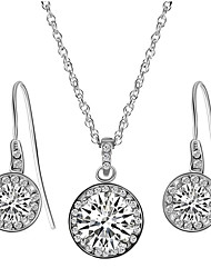 Jewelry 1 Necklace 1 Pair of Earrings Imitation Diamond Party Daily Casual Alloy Zircon 1set Women White Wedding Gifts