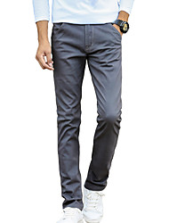 Men's Slim Chinos PantsCasual/Daily Simple Solid Mid Rise Button Cotton Spandex Micro-elastic All Seasons MP-819