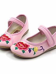 Girl's Flats Spring Fall Mary Jane Fabric Casual Flat Heel Black Green Pink Red Fuchsia