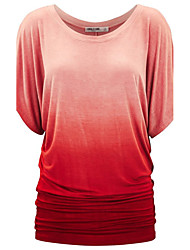 Women's Going out Casual/Daily Simple Street chic Gradual Change T-shirtSolid Round Neck Short Sleeve