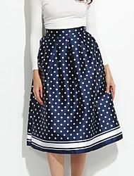 Femme Jupes Points Polka Vintage Au dessus des genoux Décontracté / Quotidien Coton non élastique Automne