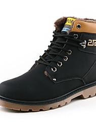 Черный / Коричневый / Желтый-Мужской-На каждый день-Полиуретан-На плоской подошве-Удобная обувь-Ботинки