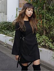 Korea new winter temperament retro buckle strap decoration waist solid color dress
