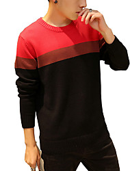 Men's Casual/Daily Plus Size Simple Cute Street chic Regular Pullover,Solid Striped Blue Red Orange Round Neck Long Sleeve CottonSpring