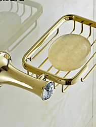 "Soap Dish Ti-PVD Wall Mounted 190 x 110 x 50mm (7.48 x 4.33 x 1.97"") Brass / Crystal Contemporary"