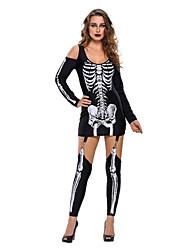 Costumes de Cosplay Ange et Diable Fête / Célébration Déguisement Halloween Noir Imprimé Collant/Combinaison Halloween / Carnaval Féminin