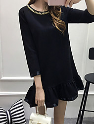 Women's Plus Size Simple Loose Dress,Solid Round Neck Above Knee ¾ Sleeve Black Polyester Spring