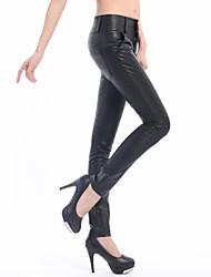 Feminino Skinny Chinos Calças-Cor Única Happy-Hour Moda de Rua Cintura Alta Botão PU Com Elástico Inverno