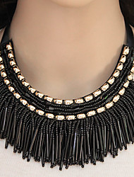 Women's Collar Necklace Statement Necklaces Resin Alloy Tassels Fashion Gold Black Gray Blue Rainbow Jewelry Party 1pc