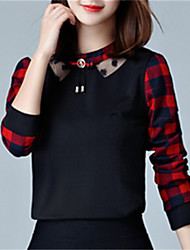 Long Sleeves Plaid Printing Slim Coat Fashion Wild Daily Leisure Home Get Together  T-shirt