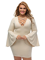 Women's Plus Size Caged Flare Sleeves Dress
