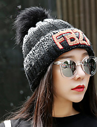 Winter Warm Fashion Plus Velvet Thick Letters Of The Gradient Color Single - Hat Knit Hat Women 'S Wool Hat