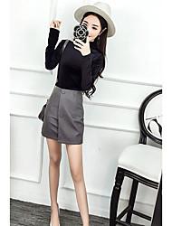Для женщин Для клуба Весна Осень Блузка Юбки Костюмы Хомут,Секси Однотонный Длинный рукав Слабоэластичная