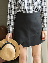 Women's Pencil Solid Skirts,Casual/Daily Sexy Low Rise Above Knee Zipper Polyester Micro-elastic Fall