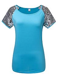 Feminino Camiseta Casual Esportivo Simples Activo Verão,Sólido Azul Cinza Tipos Especiais de Couro Decote Redondo Manga Curta Fina