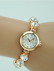 Women's Fashion Watch Quartz Rhinestone Alloy Band Charm Gold Brand