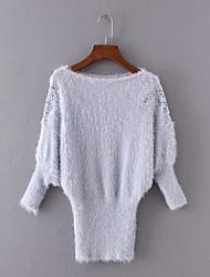Damen Standard Pullover-Ausgehen Lässig/Alltäglich Einfach Street Schick Solide Blau Weiß Lila Rundhalsausschnitt LangarmKunst-Pelz Acryl