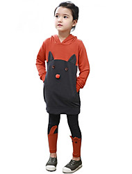 Girl's Cotton Fashion Spring/Fall Going out Casual/Daily Cat Patchwork Hoodies & Pants Cartoon Two-piece Set Sport Suit
