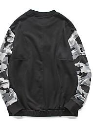 Sweatshirt Hommes Sportif Actif Couleur Pleine Col Arrondi Non Elastique Coton Manches Longues Automne