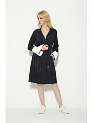 Women's Beach Vintage Loose Dress,Striped Shirt Collar Above Knee Long Sleeve Blue Cotton Spring Low Rise Micro-elastic Medium
