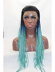 Long Black Wig Micro Braided Lace Front Wigs for Black Women Heat Ok African American Synthetic Wigs Glueless Braided Lace Wig