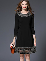 Women's Formal Sexy A Line Dress,Solid Lace Mesh Round Neck Above Knee Long Sleeve Lantern Sleeve Rayon Red Black Spring High Rise