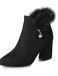 Women's Boots Fall Winter Other Fleece Office & Career Casual Chunky Heel Rhinestone Feather Chain Black Army Green Camel