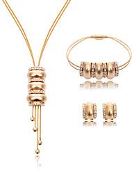 Women Wedding Bridal Round Beaded Rhinestone Pendant Necklace Earrings Bracelet Three-piece Of Sweater Chain