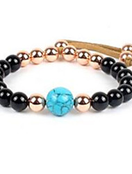 Women's Strand Bracelet Beaded Rose Gold Gemstone Gold Plated Alloy Jewelry For Casual 1pc