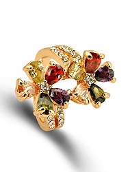 Jewelry Women Alloy Zircon Women Golden Flower Ring