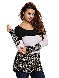 Women's Leopard Color Block Long Sleeve Top