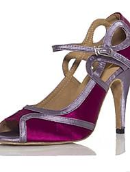 Damen-Sandalen-Kleid-Satin-Stöckelabsatz-Andere-Lila