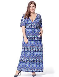 Women's Plus Size Boho Swing Dress,Print V Neck Maxi Short Sleeve Blue Red Orange Polyester Spandex Spring Summer High Rise Micro-elastic