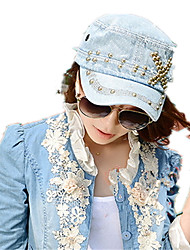 Fashion Spring And Summer New Copper Nail Washed Cowboy Navy Cap Flat Top Hat Lady Tongue Cap