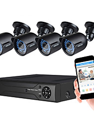 JOOAN Security Camera System 4 X 720P Weatherproof TVI Camera with 3.6mm Lens And 1080N 8CH DVR Recorder Support AHD/TVI/CVI/CVBS- No Hard Drive