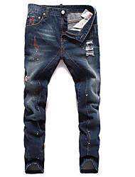 Masculino Reto Jeans Chinos Calças-Cor Única Casual Vintage Cintura Baixa Zíper Raiom Micro-Elástico Com Molas