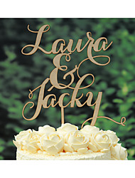 Calligraphy Wedding Cake Topper Custom with Bride and Groom Names Made of Wood in Natural Color