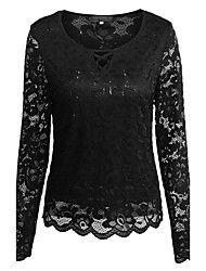 Women's Going out Casual/Daily Sexy Street chic Summer Fall Blouse,Solid Round Neck Long Sleeve Black Cotton Polyester