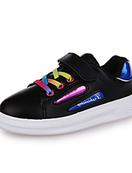 Girl's Athletic Shoes Spring Fall Winter Comfort PU Casual Low Heel Magic Tape Black White Silver Other