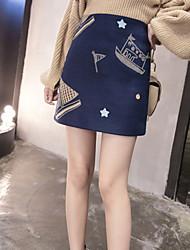 Damen Röcke,Bodycon Druck Bestickt,Lässig/Alltäglich Street Schick Hohe Hüfthöhe Über dem Knie Reisverschluss Wolle UnelastischAll