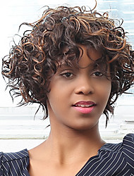 Highlight Afro Curly Oblique Bang Synthetic Wig